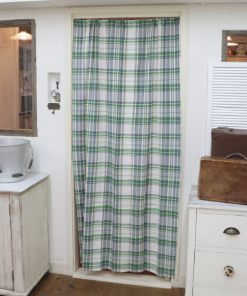 salut!(サリュ) 【お部屋の模様替えに】グリーンチェックカーテン