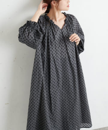 pual ce cin(ピュアルセシン) 綿帽子刺繍ワンピース