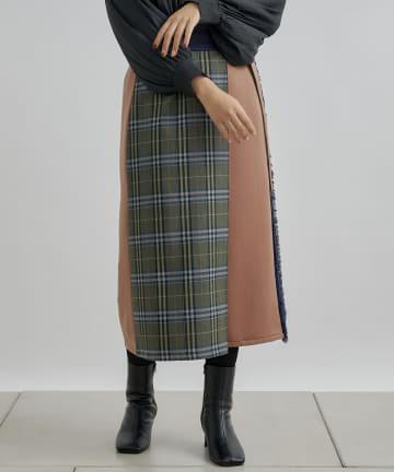 Jena espace merveilleux(ジェナ エスパスメルヴェイユ) 〔予約〕チェック異素材ラップスカート
