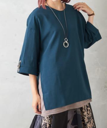 Pal collection(パルコレクション) 《一枚で重ね着風》袖ベルトスリットチュニック