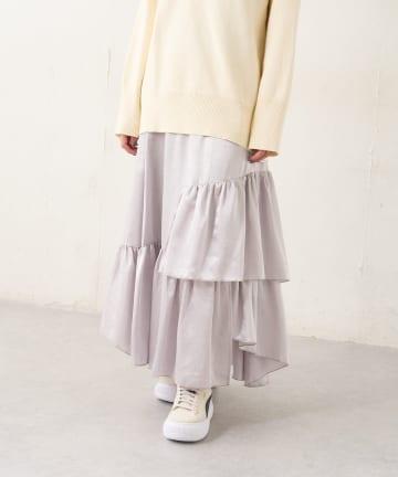 Lui's(ルイス) クラッシュサテンランダムティアードスカート