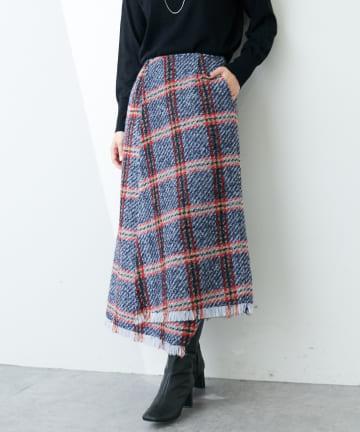 COLLAGE GALLARDAGALANTE(コラージュ ガリャルダガランテ) フリンジチェックラップスカート
