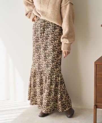 Discoat(ディスコート) コーデュロイ花柄マーメイドスカート