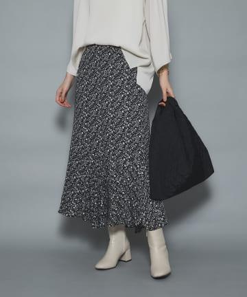un dix cors(アンディコール) 《予約》【女性らしさが引き立つ】小花プリントアシメ切替スカート