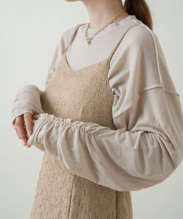 Kastane(カスタネ) 袖シャーリングシアーロンT