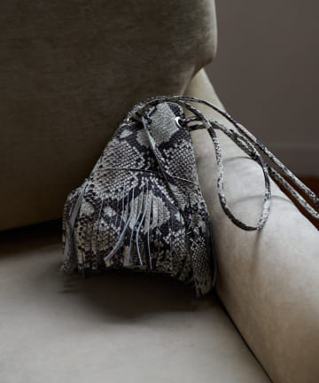 Loungedress(ラウンジドレス) 【MARCO MASI/マルコマージ】パイソンフリンジミニ巾着バッグ