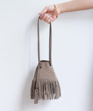Loungedress(ラウンジドレス) 【MARCO MASI/マルコマージ】スエードフリンジミニ巾着バッグ