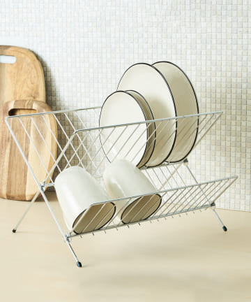 3COINS(スリーコインズ) 【食器や調理器具のお手入れに】折りたたみ水切りラック