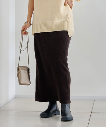 DOUDOU(ドゥドゥ) コーデュロイジャージースカート