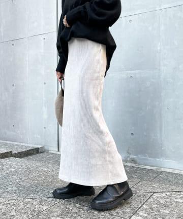 DOUDOU(ドゥドゥ) 【新色追加】コーデュロイジャージースカート