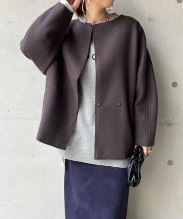 DOUDOU(ドゥドゥ) ダブルフェイスミドル丈コート
