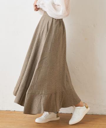 OLIVE des OLIVE OUTLET(オリーブ・デ・オリーブ アウトレット) 裾フリルチェックスカート