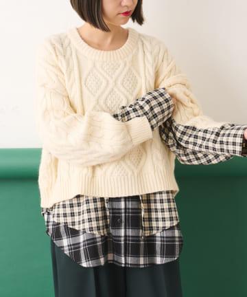 ear PAPILLONNER(イア パピヨネ) 【SUM1 STYLE(スミ スタイル)】チェックシャツコンビニット