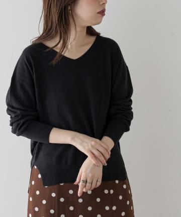 natural couture(ナチュラルクチュール) 【大好評リバイバルアイテム】プチプラカシミアタッチVネックニット