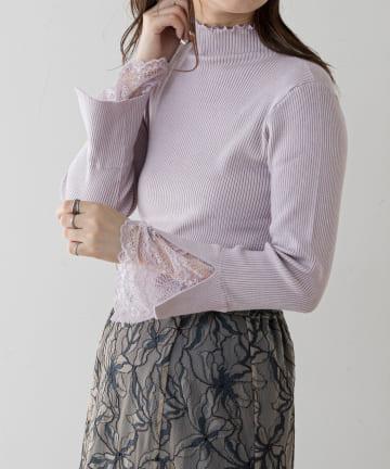 natural couture(ナチュラルクチュール) 【大好評リバイバルアイテム】袖口レースもちもちリブタートル