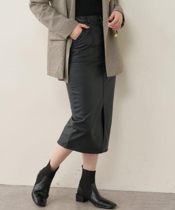 natural couture(ナチュラルクチュール) フェイクレザー78センチ丈ナロースカート