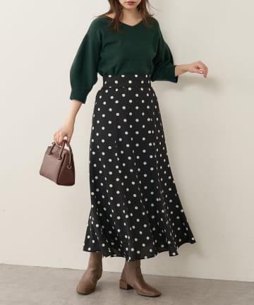 natural couture(ナチュラルクチュール) 【WEB限定】osono長さ変えれるレトロドットスカート