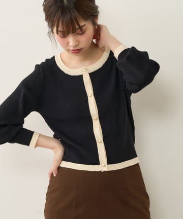 natural couture(ナチュラルクチュール) バイカラーレトロショートカーディガン