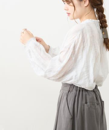 pual ce cin(ピュアルセシン) シャーリング襟フリルブラウス