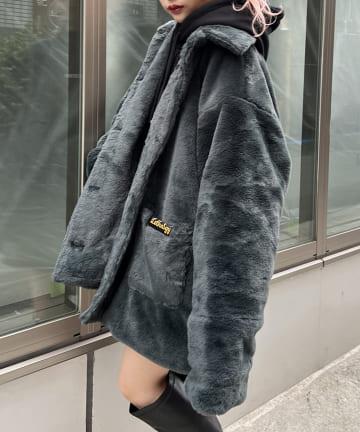 RASVOA(ラスボア) ステンカラーパッチポケットファーコート