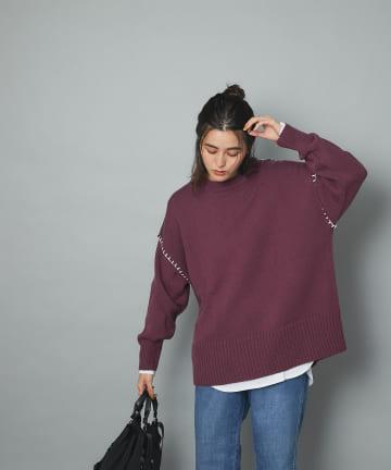 un dix cors(アンディコール) 《予約》【配色ステッチ刺繍でワンランクアップ】ブランケット刺繍ニットプルオーバー