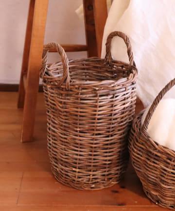 salut!(サリュ) 【Noir et blanc】土籐ロングバスケット(ショート)
