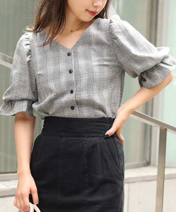 NICE CLAUP OUTLET(ナイスクラップ アウトレット) 【one afteranother】checkcandyblouse