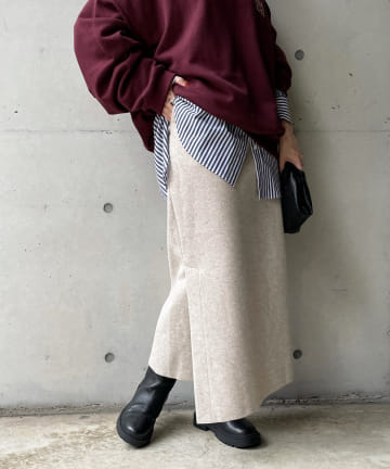 DOUDOU(ドゥドゥ) 圧縮天竺スリットタイトスカート