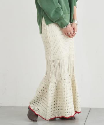 CIAOPANIC TYPY(チャオパニックティピー) 透かし柄マーメイドニットスカート