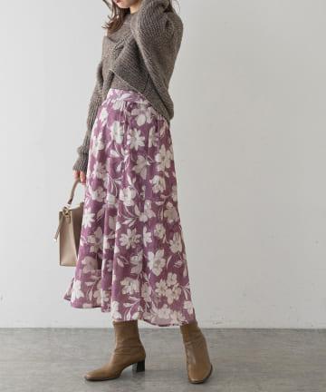 natural couture(ナチュラルクチュール) オリエンタル花柄ジャガードスカート