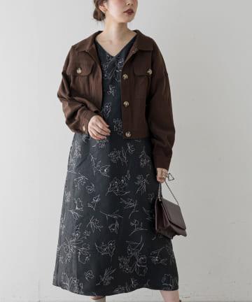 natural couture(ナチュラルクチュール) ふくれジャガードお上品線画ワンピース