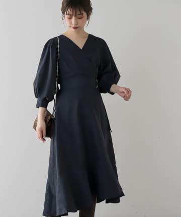 natural couture(ナチュラルクチュール) 【WEB限定カラー有り】アシメマーメイドカシュクールワンピース