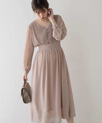 natural couture(ナチュラルクチュール) 【WEB限定カラー有り】ピンタックプリーツお上品ワンピース