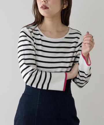 natural couture(ナチュラルクチュール) 袖口配色もちもちボーダー2WAYニット