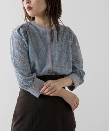 natural couture(ナチュラルクチュール) 【WEB限定カラー有り】前後2WAYバンドカラーブラウス