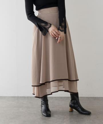 natural couture(ナチュラルクチュール) 配色パイピングティアードスカート