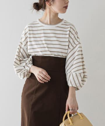 natural couture(ナチュラルクチュール) ランタンスリーブボーダープルオーバー
