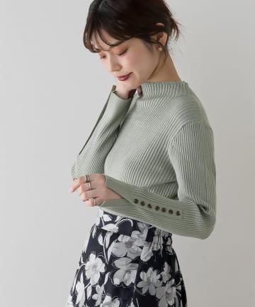 natural couture(ナチュラルクチュール) 袖口ちび釦プチハイリブニット
