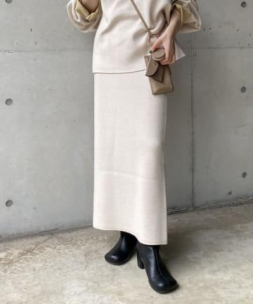 CAPRICIEUX LE'MAGE(カプリシュレマージュ) リバカラーニットスカート