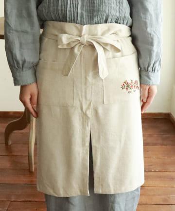salut!(サリュ) 【野草の会】刺繍ロングカフェエプロン