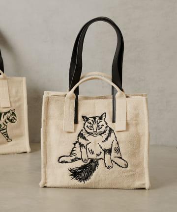 ear PAPILLONNER(イア パピヨネ) ネコ刺繍ミディアムコットントートバッグ