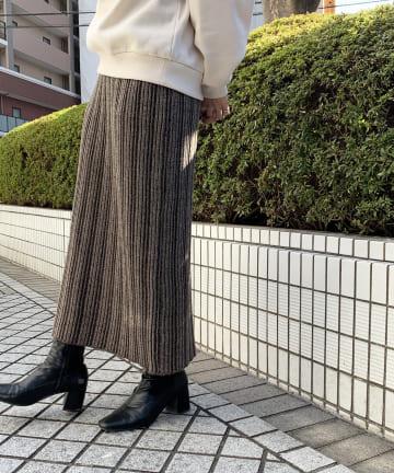 Thevon(ゼヴォン) 微配色リブロングスカート