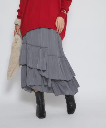 La boutique BonBon(ラブティックボンボン) 《予約》【重ねフリルが豪華・手洗い可】割繊ランダムティアードロングスカート