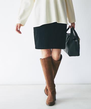 La boutique BonBon(ラブティックボンボン) 《予約》【秋冬ムードで大人のタイト・手洗い可】コーデュロイミニスカート