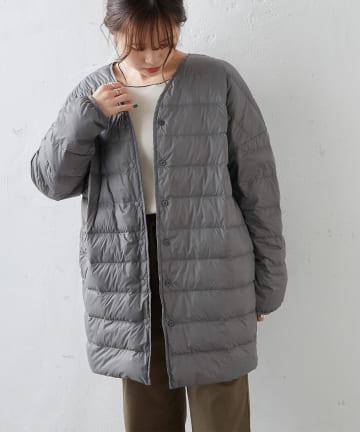 pual ce cin(ピュアルセシン) フレンチダックライトダウンロングジャケット