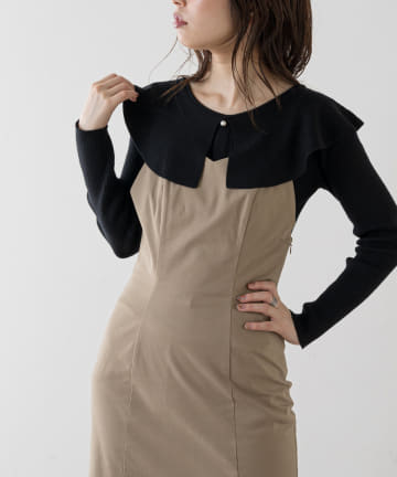 natural couture(ナチュラルクチュール) 【WEB限定】パール釦衿つき細リブニット