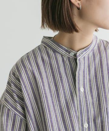 Kastane(カスタネ) 【Thank Mat'l.】リサイクルヤーンマルチストライプオーバーシャツ