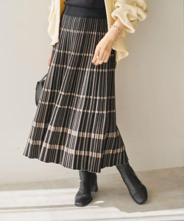 Discoat(ディスコート) チェック柄ニットプリーツフレアスカート