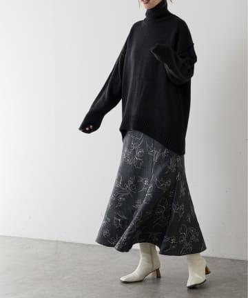 natural couture(ナチュラルクチュール) 長さ変えれるふくれジャガード線画スカート