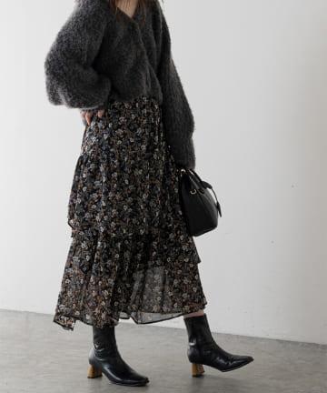 natural couture(ナチュラルクチュール) ランダムティアード花柄スカート